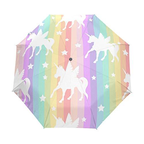 SUHETI Regenschirm Taschenschirm,Nettes weißes Einhorn Schattenbild auf Regenbogen,Auf Zu Automatik,windsicher,stabil