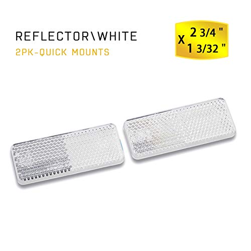 MFC PRO Rectangular Safety Stick-on Reflector Truck Trailer Warning Reflective Plate for Car Caravan Lorry Bus(White, 70x28mm)