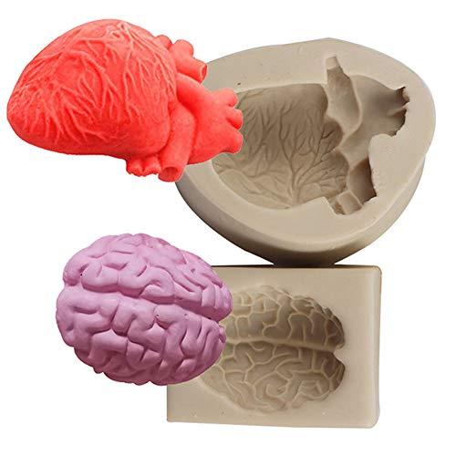 XLZSP Stampi in silicone per organi umani, in 3D con cuore e cervello fondente per torte, cioccolato, biscotti, polimeri, argilla, gesso, ghiaccio
