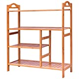 Giantex 4-Tier Shoe Rack, Bamboo Shoe and Boot Rack 12-14 Pairs, Wood Plant Flower Stand Shelf, Multifunction Free Standing Shelf Racks for Entryway Hallway Bathroom Garden