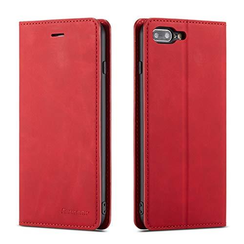 QLTYPRI Hülle für iPhone 7 Plus 8 Plus, Premium Dünne Ledertasche Handyhülle mit Kartenfach Ständer Flip Schutzhülle Kompatibel mit iPhone 7 Plus 8 Plus - Rot