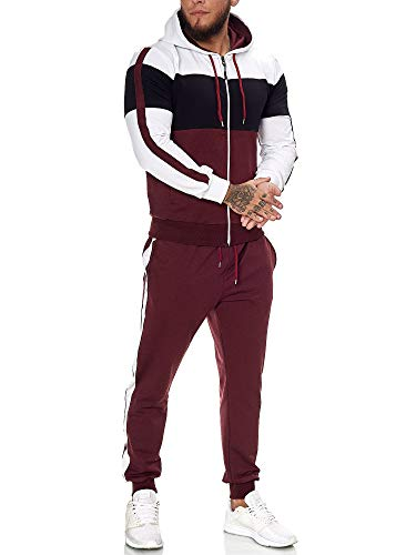 OneRedox | Herren Trainingsanzug | Jogginganzug | Sportanzug | Jogging Anzug | Hoodie-Sporthose | Jogging-Anzug | Trainings-Anzug | Jogging-Hose | Modell JG-1082 Weiss-Schwarz-Bordeaux L