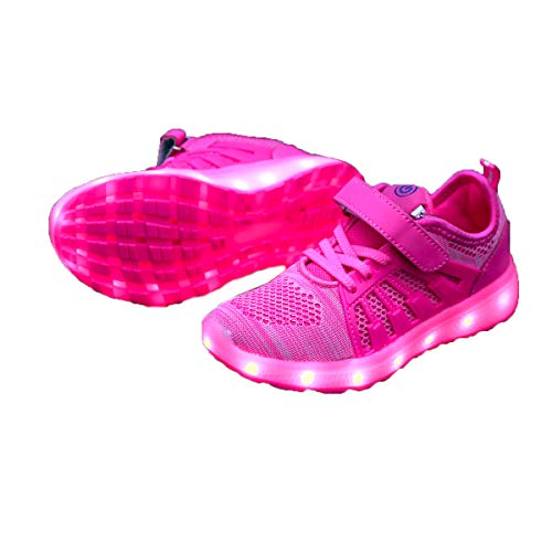 LED Kinder Schuhe 7 Farbe USB Aufladen Leuchtschuhe Licht Blinkschuhe Light up Outdoor Sneaker LadeLeuchtend Sport Schuhe Draussen Turnschuhe Leichtathletik Schuhe für Jungen und Mädchen Paar Shoes
