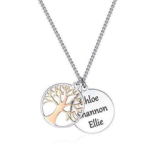 TMT Familienschmuck Personalisierte Halskette mit Lebensbaum-Anhänger (Silber & Rose-gold) Geschenk-Idee für Damen, Mama, Oma, Tochter Gravur Name kette