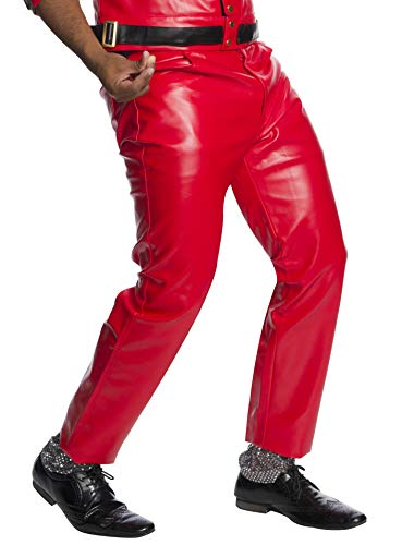 Charades Men's Faux-Leather 4-Pocket Costume Pants, Red, W44
