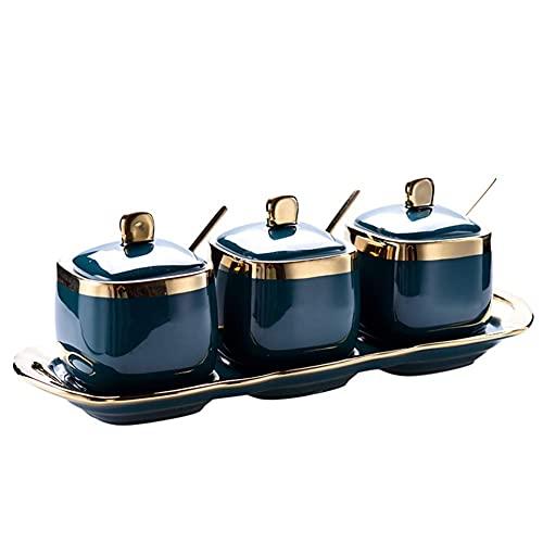 Laqemhu Ceramic Condiment Spice Jar, Nordic Retro Spice Jar Set With Serving Spoons And Lids Elegant Kitchen Seasoning Box-3 Pcs