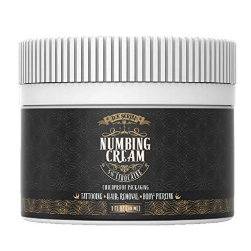 Premium Numbing Cream for Tattoos - Ink Scribd - Maximum Strength 5% Lidocaine Cream - Topical Pain Treatment - Also for Laser Hair Removal, Brazilian Waxing, Microblading, Microneedling - 1oz
