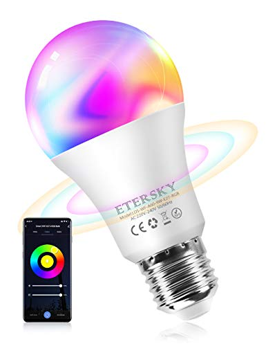 Lampadina Wifi Intelligente, Etersky E27 Smart Lampadine LED Multicolore RGB 9W Compatibile con...