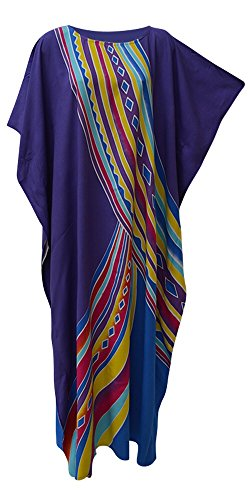 Cool Kaftans Aurora Atemberaubende Kaftan Caftan Buttersoft Beach Cover bis Lange Coole Kleid Plus Damen Robe (Freesize Fits UK 8 to 34, Purple/Blue)