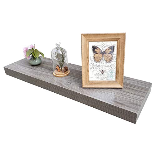 """Homewell Wood Floating Wall Shelf for Home Decoration, 36""""x9.25""""x2"""", Grey"""