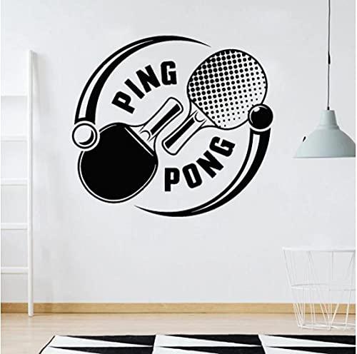 Pegatinas de pared deportiva Juegos de tenis de mesa Ping-Pong Sports Raqueta Vinilo Vinilo de pared Decoración del hogar Sala de ejercicios Habitación adolescente 46x42cm