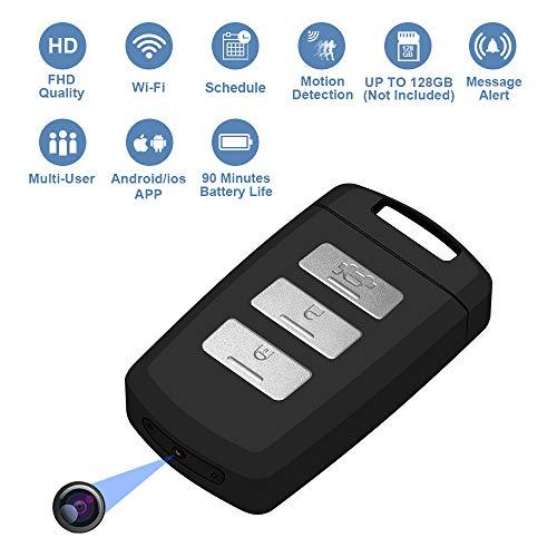 Llavero de cámara oculta con videocámara WiFi activado por movimiento Mini Cámara portátil con vídeo en vivo en Smartphone y grabación de horario KeyfobCamera