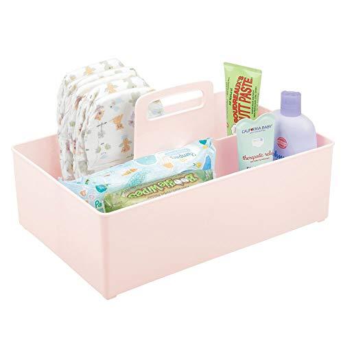 mDesign Cesta organizadora con 2 Compartimentos para artículos de bebé – Cesta con asa de plástico – Práctica Cesta Multiusos para cremas, termómetro, Juguetes, Alimentos, etc. – Rosa