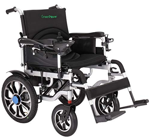 Green Power Mobility Super Lightweight Electric Wheelchair Folding Indoor/Outdoor Portable Powerchair