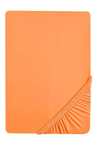 #6 biberna Jersey-Stretch Spannbettlaken, Spannbetttuch, Bettlaken, 90x190 – 100x200 cm, Nektarine