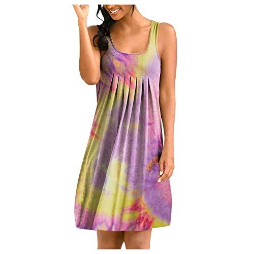 YANFANG Falda Sin Mangas De Cuello Redondo con Estampado Tie-Dye Posicionamiento para Mujer,Vestido Noche Corto,Vestidos Largos Verano Mujer,Vestidos Playa,9-Multicolor,4XL
