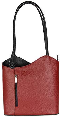 Belli italienische Ledertasche Backpack Classic 2in1 Damen Rucksack Leder Handtasche Schultertasche - 28x28x8 cm (B x H x T) (Bordeaux schwarz)