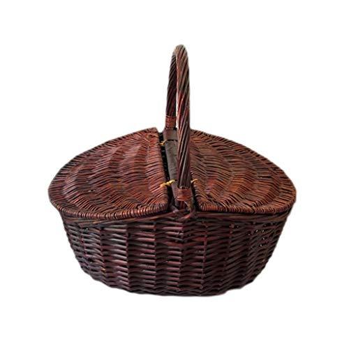 Camping-Picknicktasche im Freien Picknickkorb Gemüsekorb Handgemachtes Reales Rattan Gesponnener Korb Obstkorb Gemüsekorb Picknickkorb Mit Deckel Außen Speicher-Korb