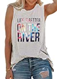 Life is Better On The River T-Shirt Women Funny Kayaking Canoe Boating Kayak Cute Tank Top Sleeveless Tee Shirt Light Grey