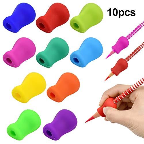 Fodlon Bleistiftgriffe Schreibhilfe für Stift Kinder Stifthalter Ergonomische Schreibhilfe für Stift Bleistift Halter 10 Stück Silikon Stift Griffe für Kinder Erwachsene Haltungskorrektur