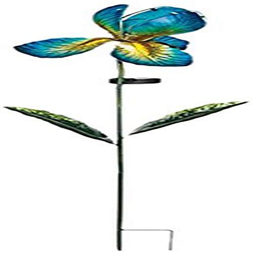 Solarleuchten - Solar Glas Iris - wetterfest, leuchtet im Dunkeln - Höhe: 100cm, Ø: 20cm - inkl. Solarzelle und LED (Blue)