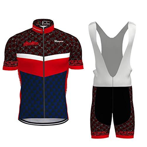 Hengxin Maillot Ciclismo Corto De Verano para Hombre, Ropa Culote Conjunto Traje Culotte Deportivo con 3D Almohadilla De Gel para Bicicleta MTB Ciclista Bici (Azul, S)
