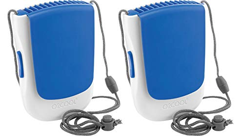 O2COOL Deluxe Necklace Fan | Battery Powered, Hands-Free Personal Cooling Fan w/Adjustable Lanyard, Table Top Stand + Wearable Clip (Blue (2 Pack))