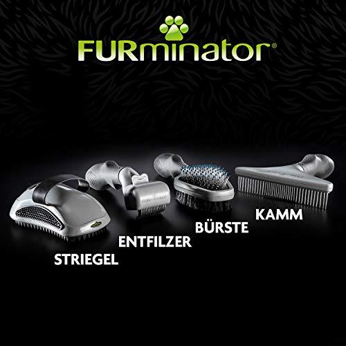 FURminator Striegel für Hunde, Fellpflege Hundebürste zum Ausbürsten von Staubundlosem Haar für gesundes glänzendes Fell, mit Gummi Noppen und ergonisch geformtem Griff - 9