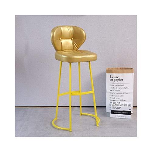 ZGQQQ Barhocker Barhocker, Lässig Schmiedeeisen Hohe Rückenlehnenstuhl 360 Grad Drehkissen Stuhl Chromrahmen Sitzhöhe 75cm Hochstuhl (Farbe : Gelb)