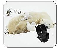 マウスパッド赤ちゃん動物眠っている雪ホッキョクグマホワイトマウスマット