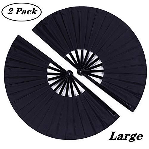 Minleer - Abanico de mano plegable grande, 2 unidades, tela de nailon, estilo vintage, estilo retro, para hombres, mujeres, festivales, bailes, regalos, espectáculos, decoraciones (negro, 13 pulgadas)