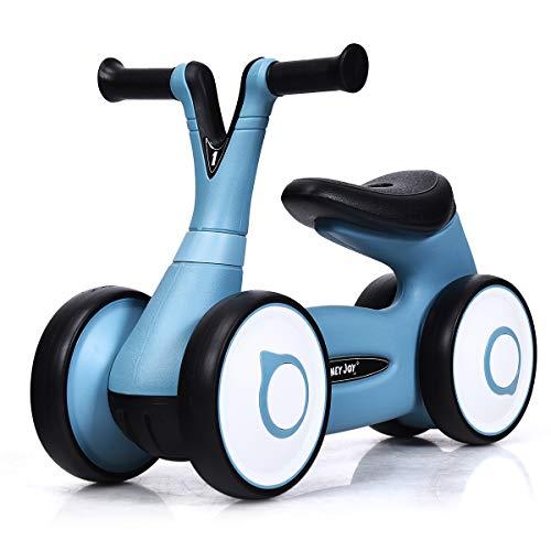 DREAMADE Lauflernrad Laufrad mit 4 Rädern, Balance Fahrrad Rutschrad für Kinder im Alter von 1 Jahr bis 3 Jahr, Lauflernhilfe ohne Pedale, Spielzeug Gehhilfe für Babys (Blau)