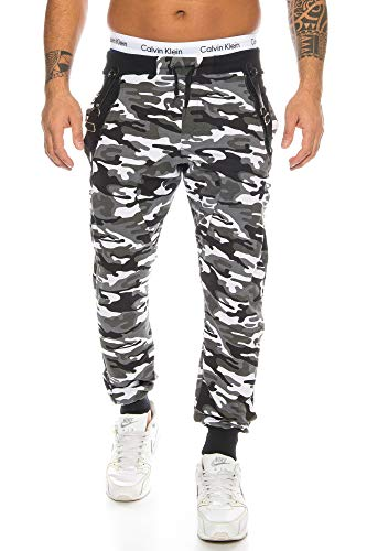 Raff &Taff Sweatpants im Camouflage Style inkl. Hosenträger Tarnhose Armyhose Hose Baggy Freizeithose Joggpants Sporthose Loose Fitness Jogginghose Pants 1118 Herren (S, Grau/Schwarz)