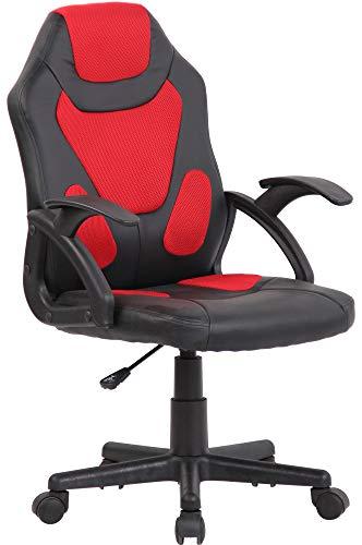 CLP Kinder Bürostuhl Dano I Höhenverstellbarer Schreibtischstuhl Mit Armlehnen I Mix aus Kunstleder Und Netzbezug, Farbe:schwarz/rot