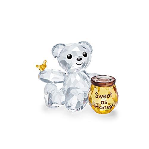 Swarovski Kris Bär - Süß wie Honig, Detailverliebter Bär in Funkelndem Kristall, mit Farbenfrohem Honigtopf und Gravur