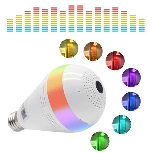 Wifi Überwachungslampe, Wireless Bluetooth Kamera mit Musik Lampe, 360°; VR Monitor, Farbwechsel, Sicherheit Bewegungserkennung für Nanny/Baby, 1.3MP 960P, Weiß