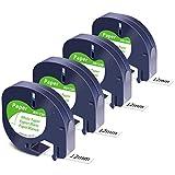MarkField Cinta de Etiquetas Compatible para Dymo Letratag Papel Cinta Recambio 12mm x 4m Negro sobre Blanco, para Etiquetadoras LT-100H LT-100T LT-110T QX 50 XR XM(para Dymo Letratag Paper Tape)