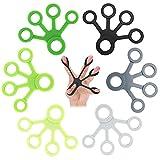 Estirador de dedos Ejercitador de Dedos Juego de 6 pcs,para ejercicios de mano y cuidado de fisioterapia articular de descompresión de la mano,Anillo Entrenamiento de Dedos con diferente dureza