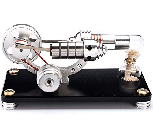 Sunnytech Hot Air Stirling Engine Colorful LED Flywheel Education Toy Electricity Power Generator...
