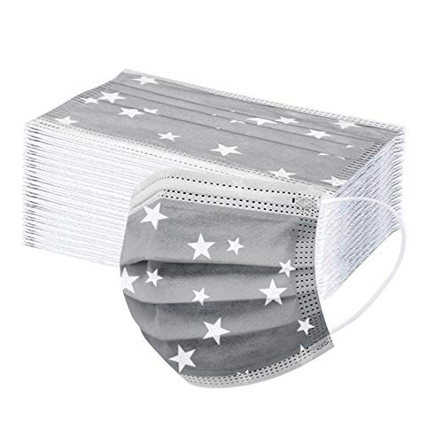 30 Stück(Graue Sterne) Einmal-Mundschutz, Staubs-chutz Atmungsaktive Mundbedeckung, Erwachsene, Bandana Face-Mouth Cover Sommerschal