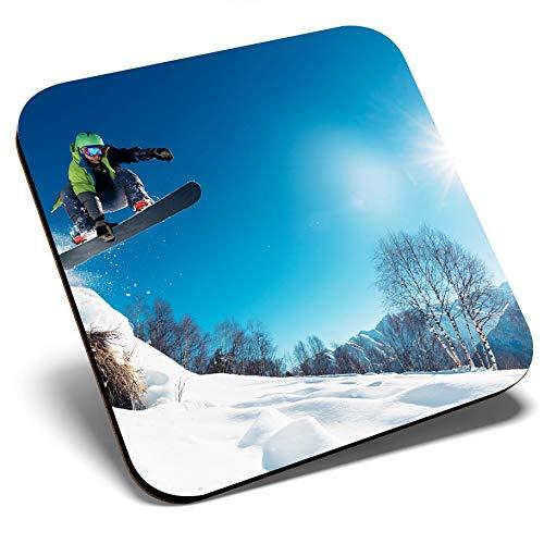 Posavasos cuadrados de gran calidad – Snowboarder, Snowboard, Snowboard, Snow Ski, Posavasos de calidad brillante, protección de mesa para cualquier tipo de mesa #8113