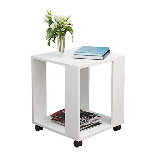 FACAIA Wheeled and movable end table,Small Coffee Shelf Solid Wooden Square Telephone/Side/Lamp/Bedside Nightstand/End Occasional Table, Medium Nesting Tables (Color : D, Size : 40x40x48cm)