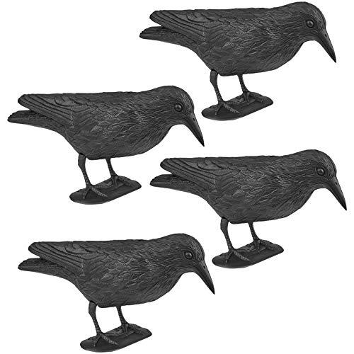 WELLGRO 4 x Vogelschreck - Krähe sitzend - Kunststoff, schwarz