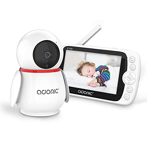 Adoric Babyphone mit Kamera 1080P 5 Zoll Baby Monitor, Video Überwachung LCD Bildschirm Nachtsicht Zwei Wege Audio, Temperatur- und akustischer Alarm, 2.4 GHz bis zu 300 m Reichweite