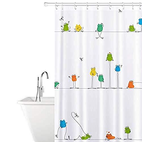 XQWZM Lustiger Duschvorhang der Frosch-3D, wasserdichte widerstandsfähige Polyester-Badvorhänge des Antimehltau, für Badezimmer-Badewannendekor mit 12 Haken