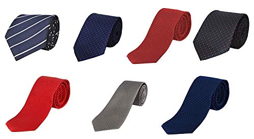 Alcove Men's 2.75 Inch Broad Pin Dot and Stripe Ties Combo (Multicolour) -Pack of 7