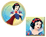 Snow White Party Supplies: Bundle Includes Round Dinner Plates and Napkins for 16 People