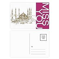 教会のスケッチ風景地方都市のランドマークイラストパターン ポストカードセットサンクスカード郵送側20個ミス