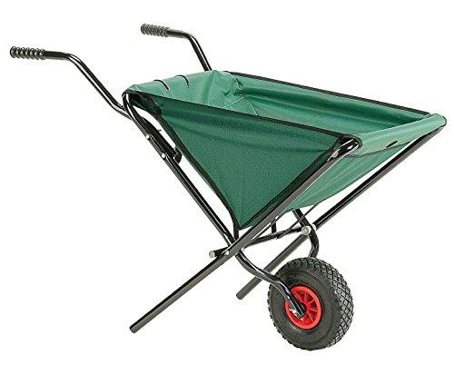 Izzy Schubkarre faltbar Luftreifen Faltschubkarre für den Garten 55 L Fassungsvermögen platzsparende Gartenkarre zum Aufhängen (grün Luftreifen)