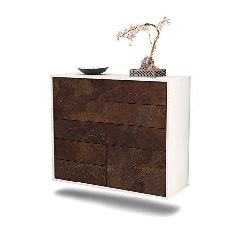 Dekati dressoir Paradise hangend (92x77x35cm) rompje wit mat | front roestig industrieel ontwerp | Push-to-Open
